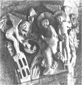 The second temptation of Christ (Mt. 4:5–7). Relief, Cathedral of St. Lazarus, Autun, France, 12th century AD.